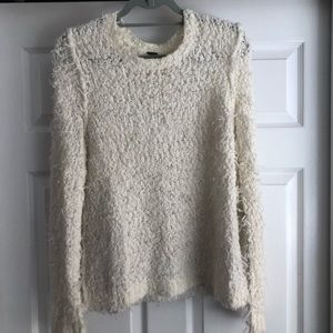 Free People cream fuzzy sweater